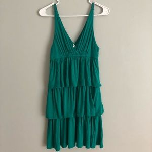Boho J.Crew Tiered Dress green Sz Small